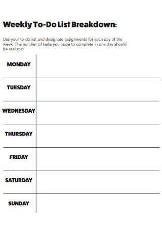 Weekly Breakdown To Do List