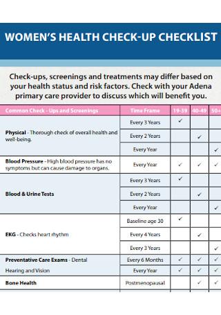 Womens Health Checkup Checklist