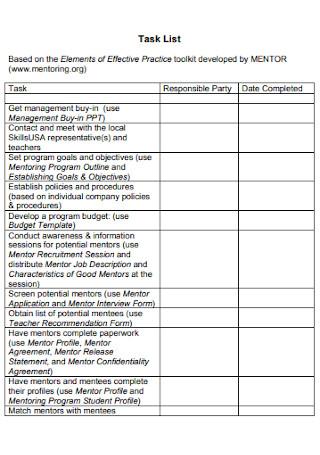 Workforce Task List