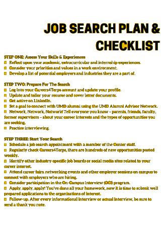 job Search Plan and Checklist