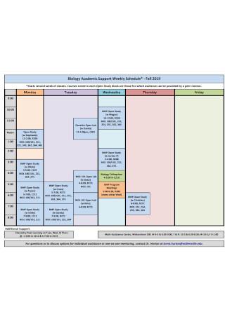 Academic Support Weekly Schedule