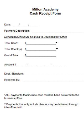 Academy Cash Receipt Form