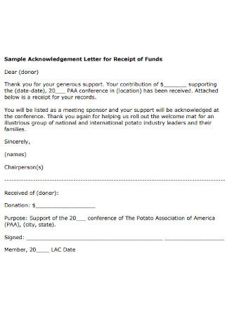 Acknowledgement Letter for Receipt of Funds