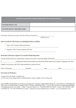 Acknowledgement Policy Receipt