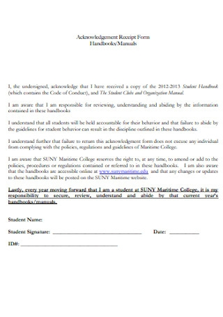 Acknowledgement Receipt Form