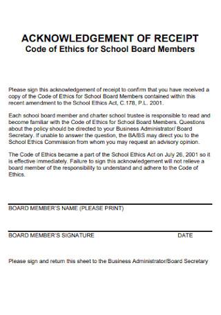 Acknowledgement Receipt for School Board