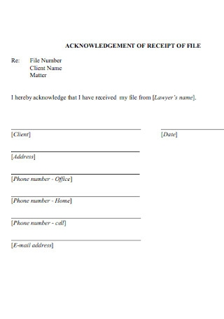 Acknowledgement Receipt of File Template
