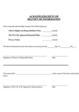 Acknowledgement Receipt of Information Template