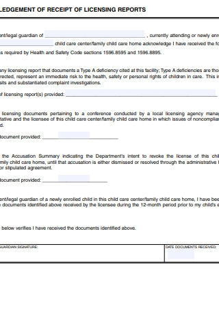 Acknowledgement Receipt of Licensing Reports