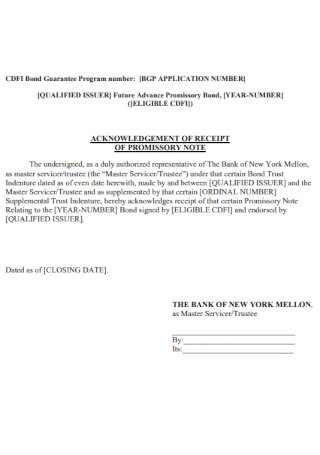 Acknowledgement Receipt of Promissory Note