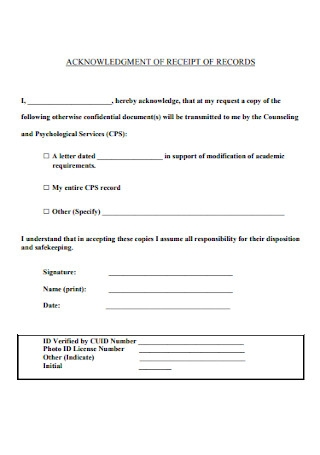 Acknowledgement Receipt of Records Template