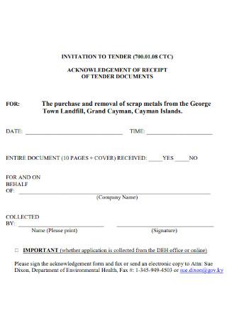 Acknowledgement Receipt of Tender Documents