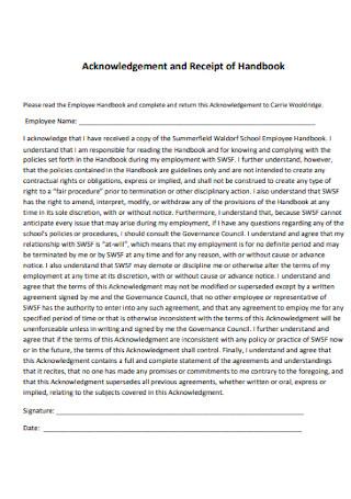 Acknowledgement and Receipt of Handbook
