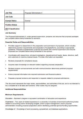 Administrator Job Proposal