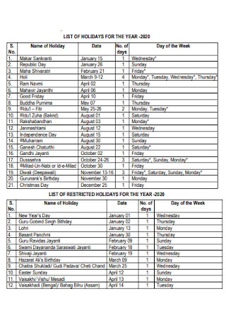 Agriculture University Holiday List