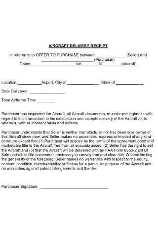 Aircraft Delivery Receipt