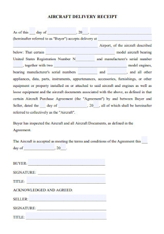 Aircraft Delivey Receipt Template