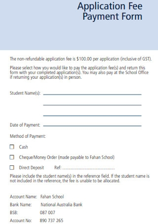 Application Fee Payment Form