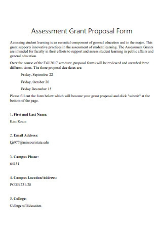 Assessment Grant Proposal Form