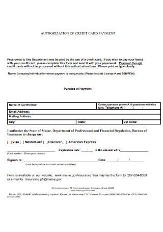 Authorization Credit Payment Form