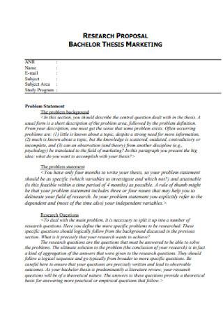 Bachelor Thesis Marketing Proposal