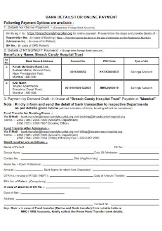 Bank Online Payment Form