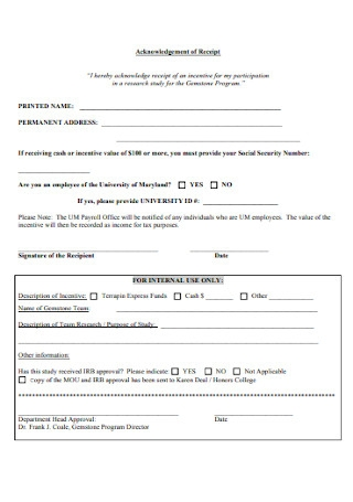 Basic Acknowledgement of Receipt Template