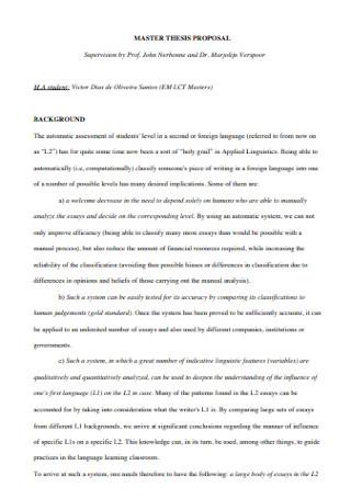 Basic Master Thesis Proposal