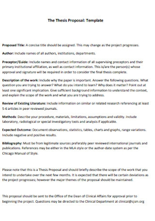 Basic Thesis Proposal Template
