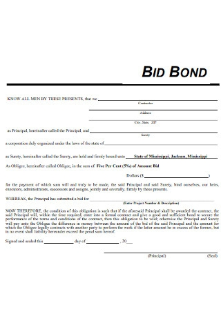 Bid Bond Proposal Template