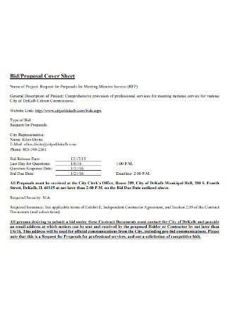 Bid Proposal Cover Sheet