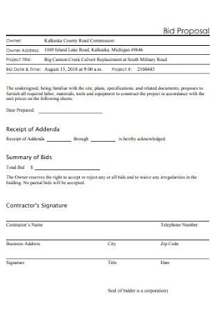Bid Proposal Format