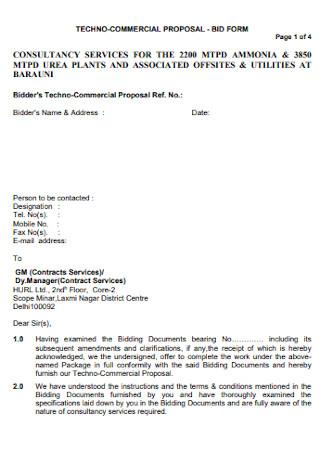 Bid Proposal Sheet Template
