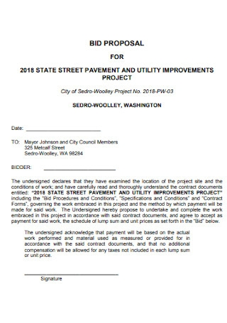 Bid Proposal for Street Pavement