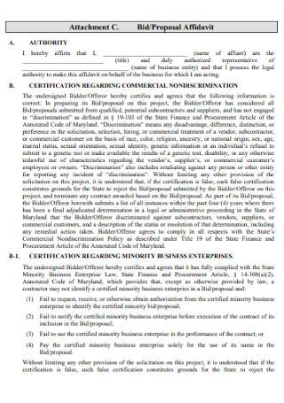 Bid and Proposal Affidavit Template