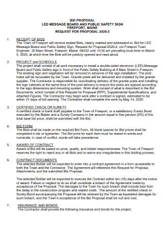Board Bid Proposal Template