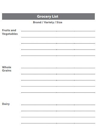 Brand Grocery List Template