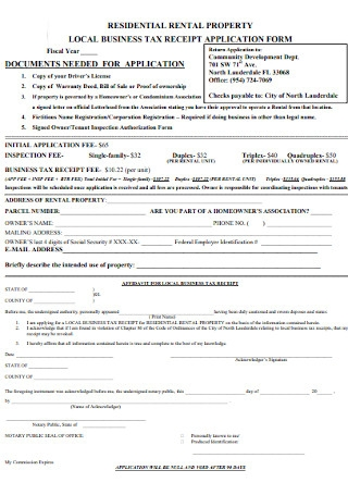 Business Property Tax Receipt