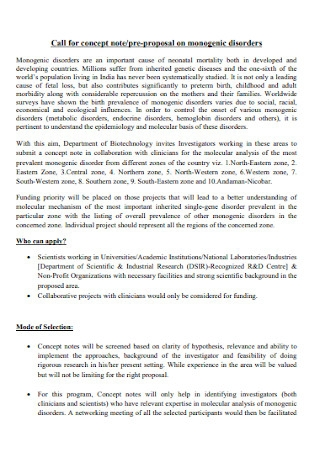 Call for Concept Note Proposal