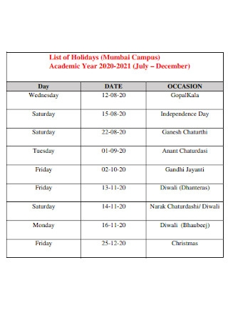 Campus Holiday List Template
