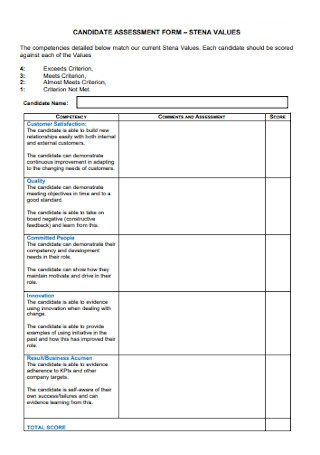 Candidate Assessment Form Template