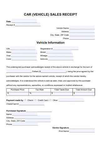 Car Sales Receipt Template