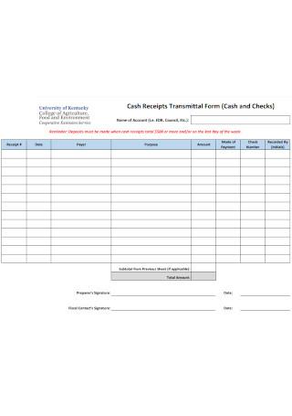 Cash Receipts Transmittal Form