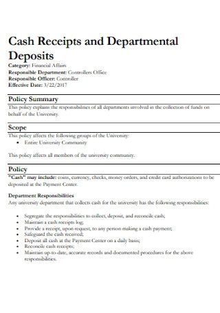 Cash Receipts and Departmental Deposits