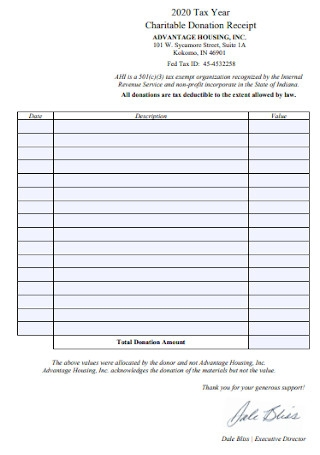 50 Sample Donation Receipt Templates In Pdf Ms Word