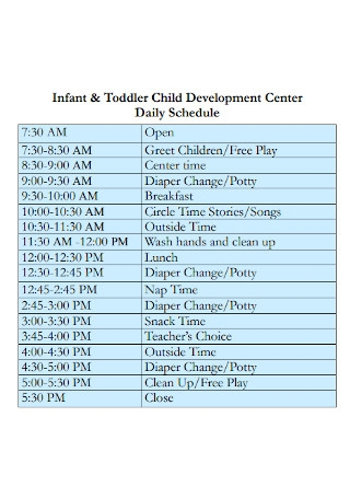Child Development Center Daily Schedule