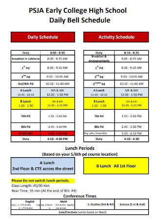 College High School Daily Schedule