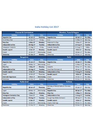 Company Holiday List Template
