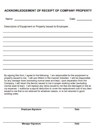 Company Knowledgement Receipt