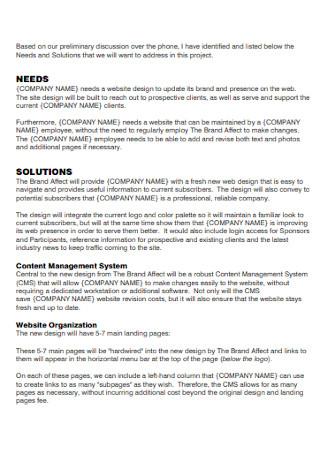 Company Website Proposal